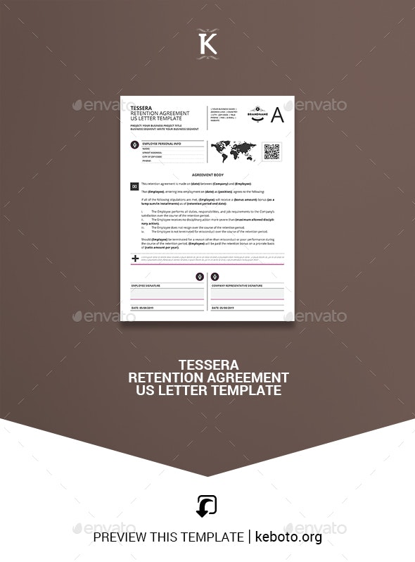 Tessera Retention Agreement US Letter Template - Miscellaneous Print Templates