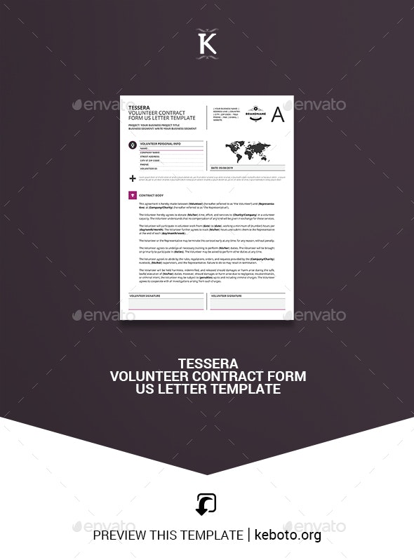 Tessera Volunteer Contract Form US Letter Template - Miscellaneous Print Templates