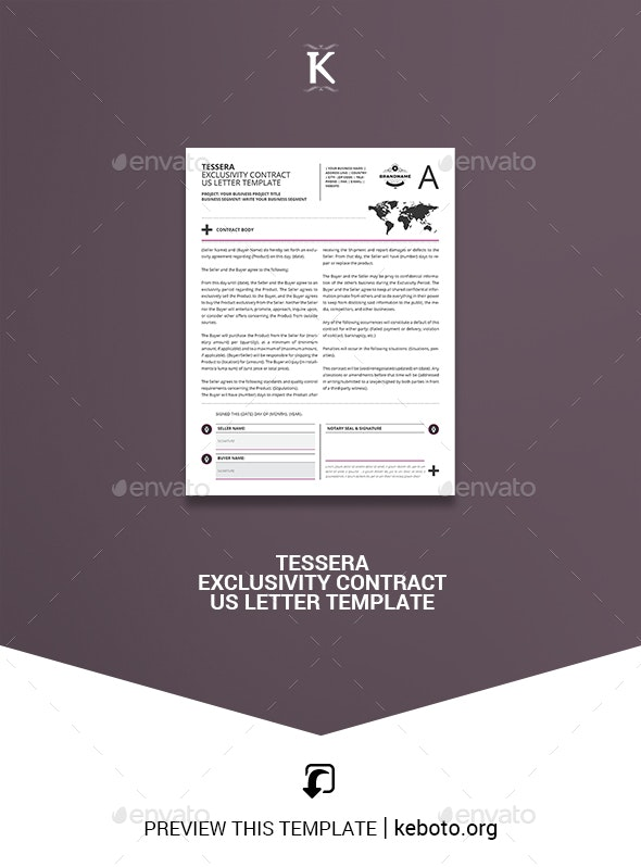Tessera Exclusivity Contract US Letter Template - Miscellaneous Print Templates