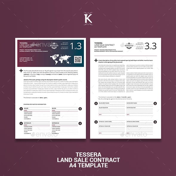 Tessera Land Sale Contract A4 Template