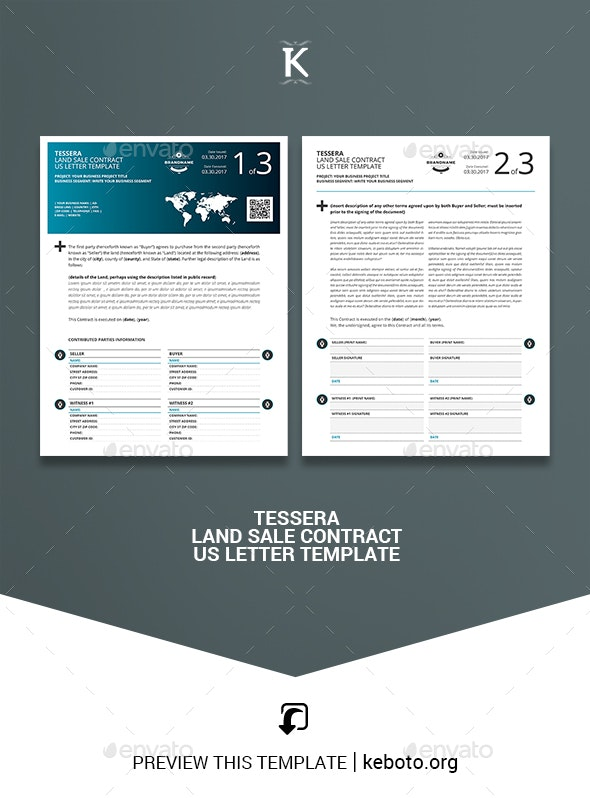 Tessera Land Sale Contract US Letter Template - Miscellaneous Print Templates