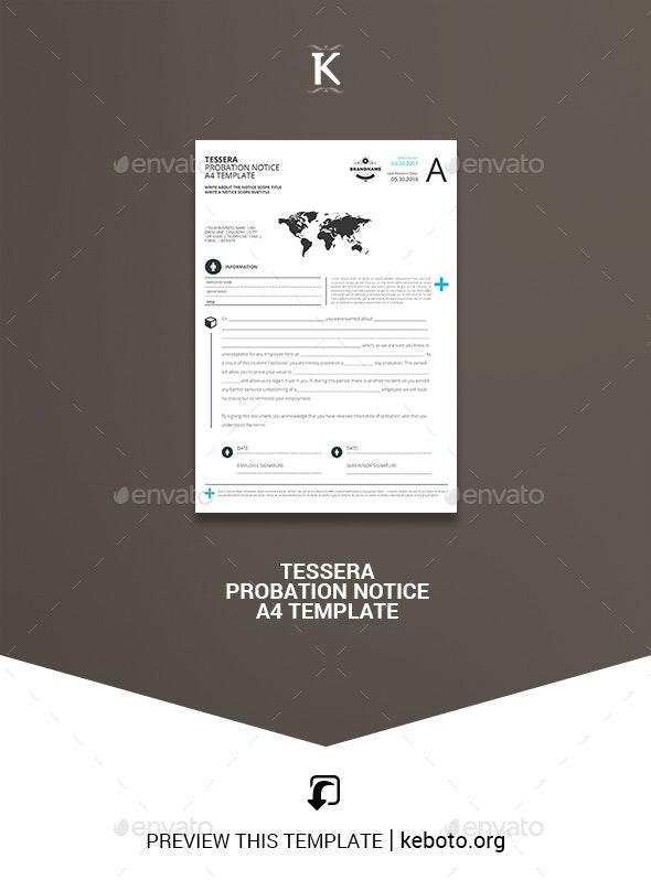 Tessera Probation Notice A4 Template - Miscellaneous Print Templates
