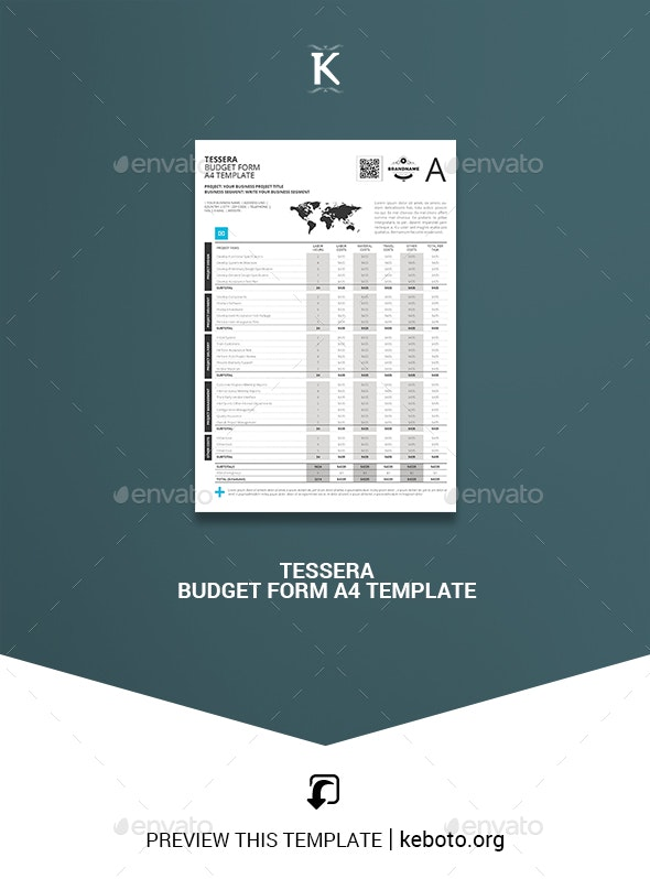 Tessera Budget Form A4 Template - Miscellaneous Print Templates