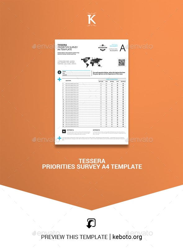 Tessera Priorities Survey A4 Template - Miscellaneous Print Templates