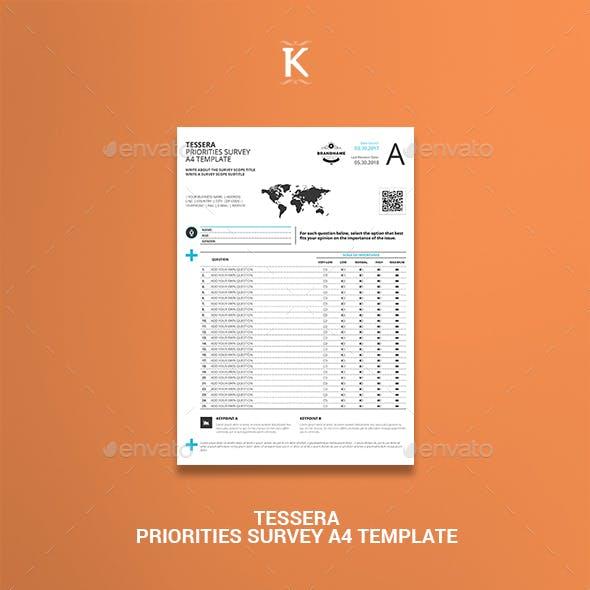 Tessera Priorities Survey A4 Template
