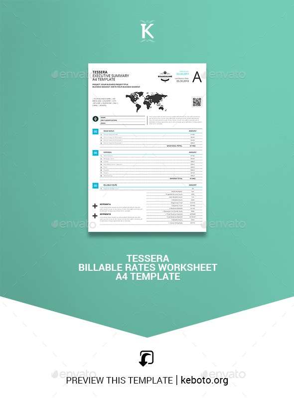 Tessera Billable Rates Worksheet A4 Template - Miscellaneous Print Templates