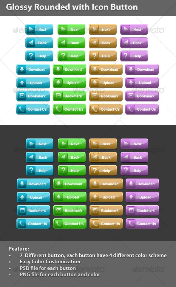 Glossy Rounded with Icon Button (4 Colors) - Buttons Web Elements