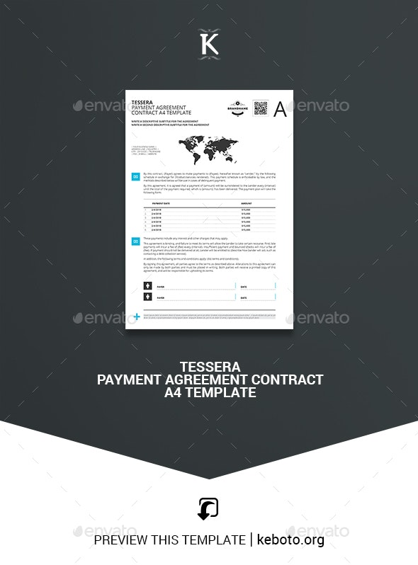 Tessera Payment Agreement Contract A4 Template - Miscellaneous Print Templates