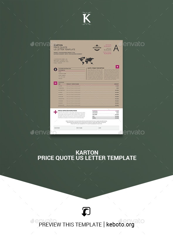 Karton Price Quote US Letter Template - Miscellaneous Print Templates