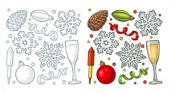 Merry Christmas and Happy New Year Set - Christmas Seasons/Holidays