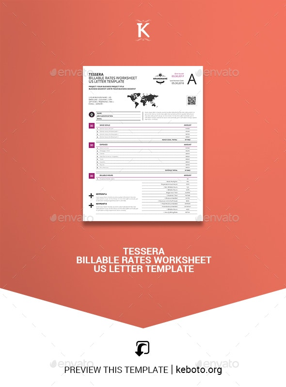 Tessera Billable Rates Worksheet US Letter Template - Miscellaneous Print Templates
