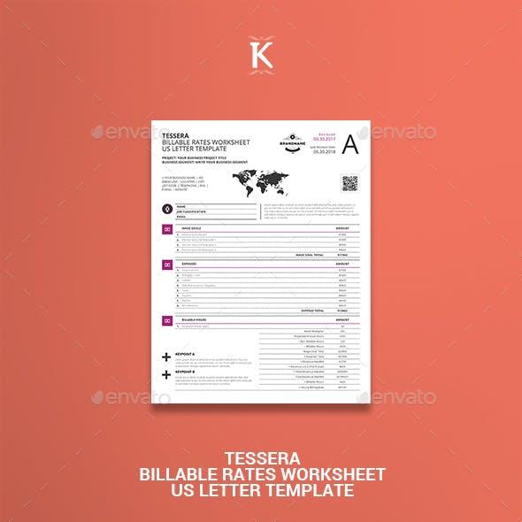 Tessera Billable Rates Worksheet US Letter Template