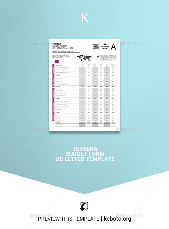 Tessera Budget Form US Letter Template - Miscellaneous Print Templates