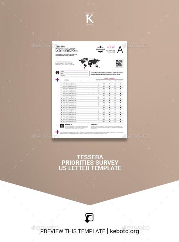 Tessera Priorities Survey US Letter Template - Miscellaneous Print Templates