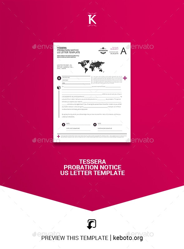 Tessera Probation Notice US Letter Template - Miscellaneous Print Templates
