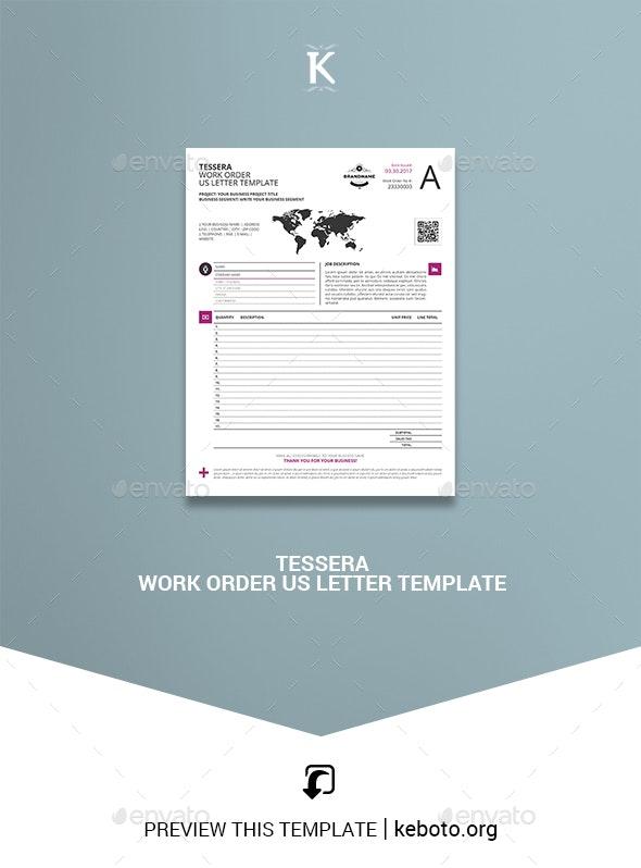 Tessera Work Order US Letter Template - Miscellaneous Print Templates
