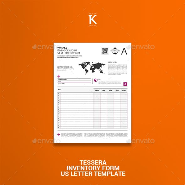 Tessera Inventory Form US Letter Template