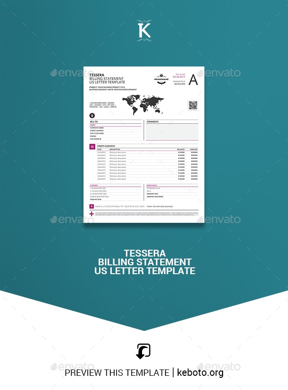 Tessera Billing Statement US Letter Template - Proposals & Invoices Stationery