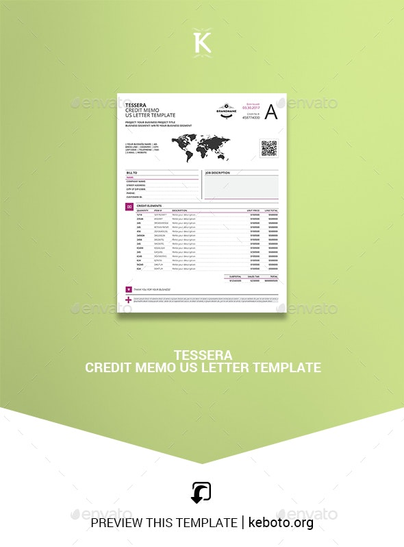 Tessera Credit Memo US Letter Template - Miscellaneous Print Templates