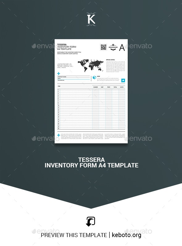 Tessera Inventory Form A4 Template - Miscellaneous Print Templates