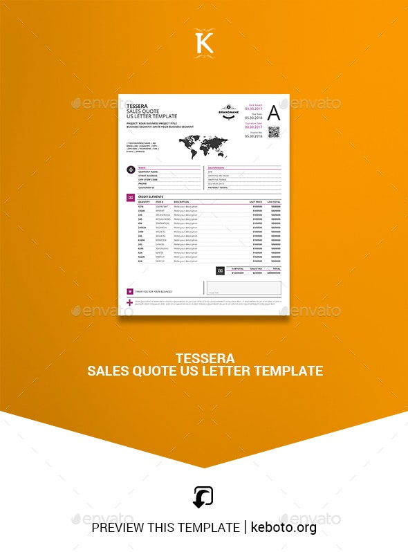 Tessera Sales Quote US Letter Template - Miscellaneous Print Templates