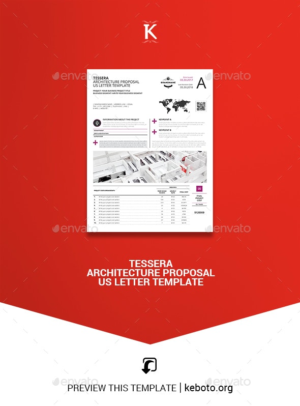 Tessera Architecture Proposal US Letter Template - Proposals & Invoices Stationery