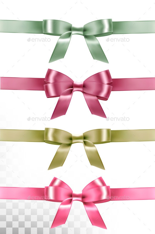 Set of Colorful Gift Bows and Ribbons Isolated - Decorative Symbols Decorative