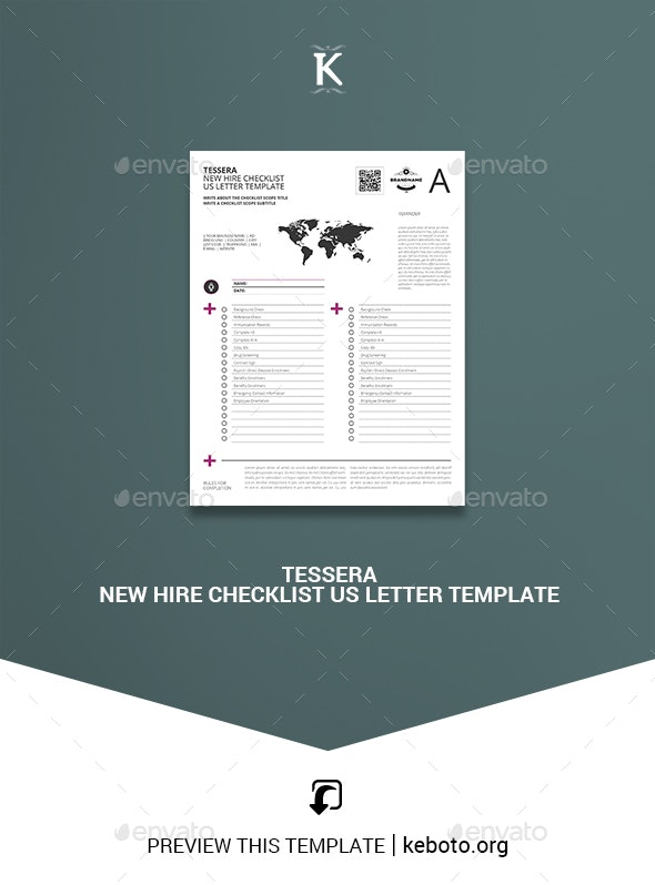 Tessera New Hire Checklist US Letter Template - Miscellaneous Print Templates