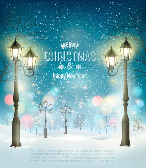 Christmas Holiday Background With Evening Winter Landscape and Lamppost - Christmas Seasons/Holidays