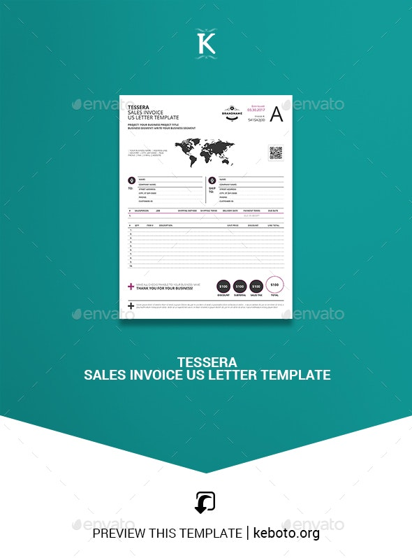 Tessera Sales Invoice US Letter Template - Proposals & Invoices Stationery