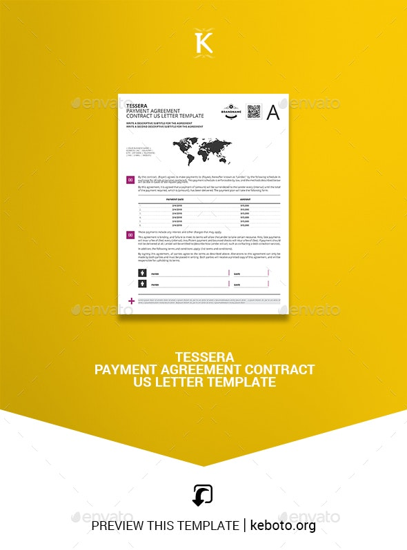 Tessera Payment Agreement Contract US Letter Template - Miscellaneous Print Templates