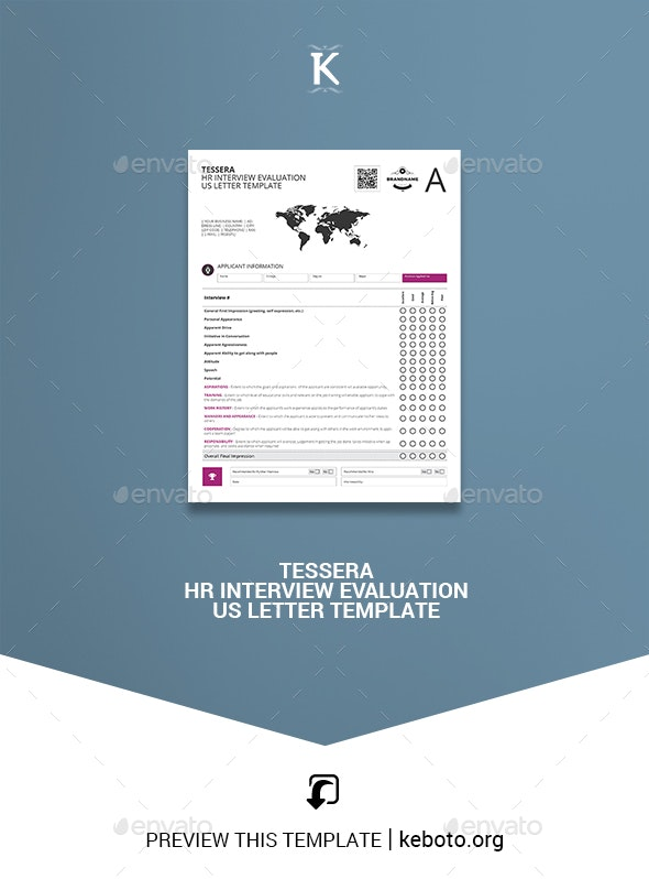 Tessera HR Interview Evaluation US Letter Template - Miscellaneous Print Templates