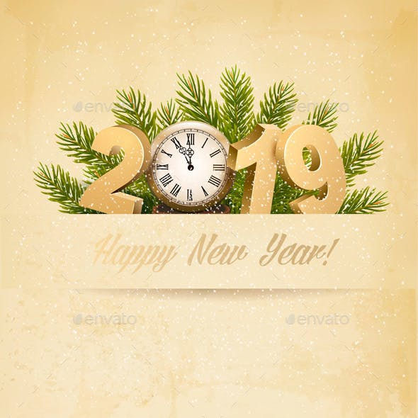 Happy New Year 2019 Background With Tree and Clock