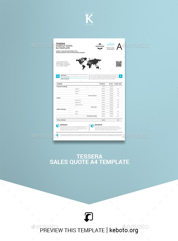 Tessera Sales Quote A4 Template - Miscellaneous Print Templates