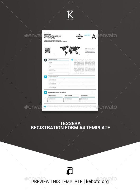 Tessera Registration Form A4 Template - Miscellaneous Print Templates