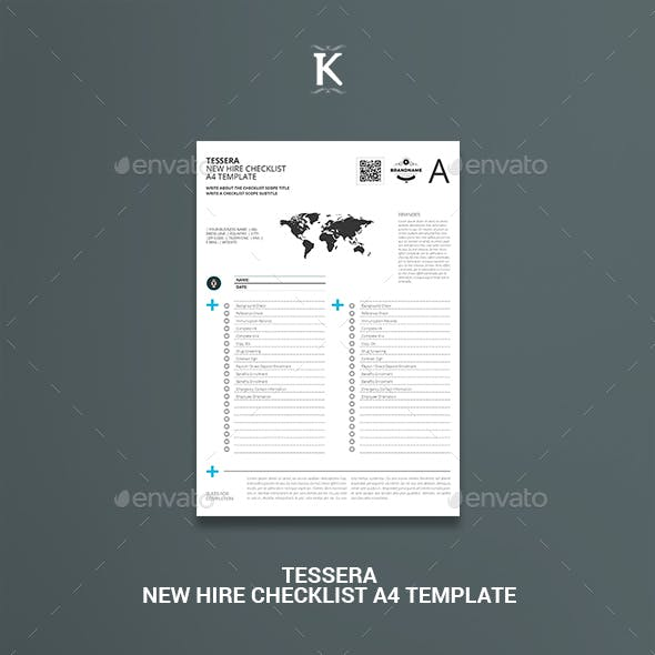 Tessera New Hire Checklist A4 Template