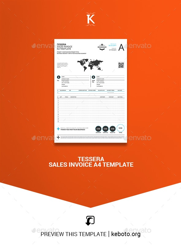 Tessera Sales Invoice A4 Template - Proposals & Invoices Stationery