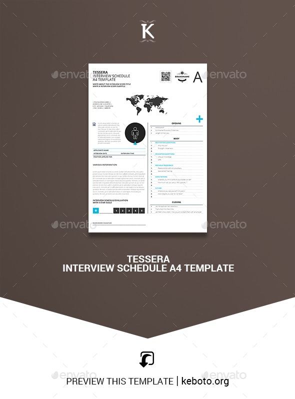 Tessera Interview Schedule A4 Template - Miscellaneous Print Templates