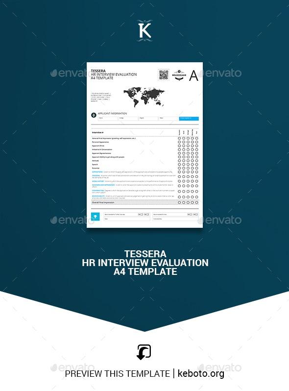 Tessera HR Interview Evaluation A4 Template - Miscellaneous Print Templates