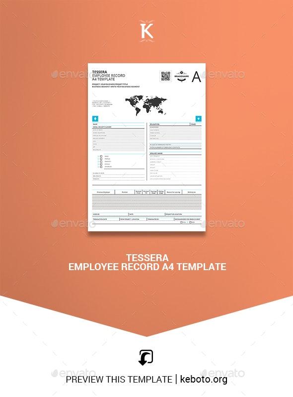 Tessera Employee Record A4 Template - Miscellaneous Print Templates