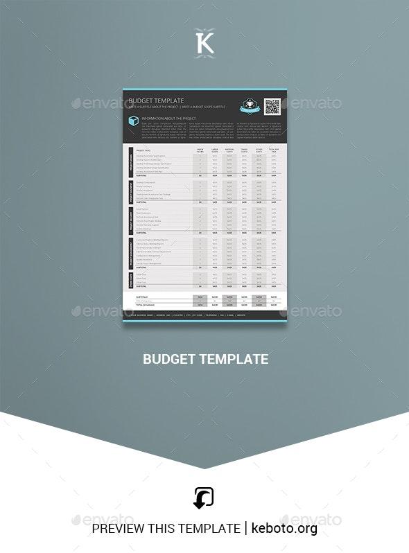 Budget Template - Miscellaneous Print Templates