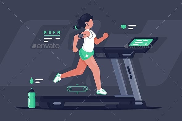 Flat Silhouette Young Woman Running on Treadmill - Sports/Activity Conceptual