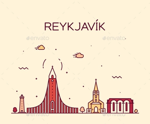 Reykjavik City Skyline Iceland Vector Linear Style - Buildings Objects