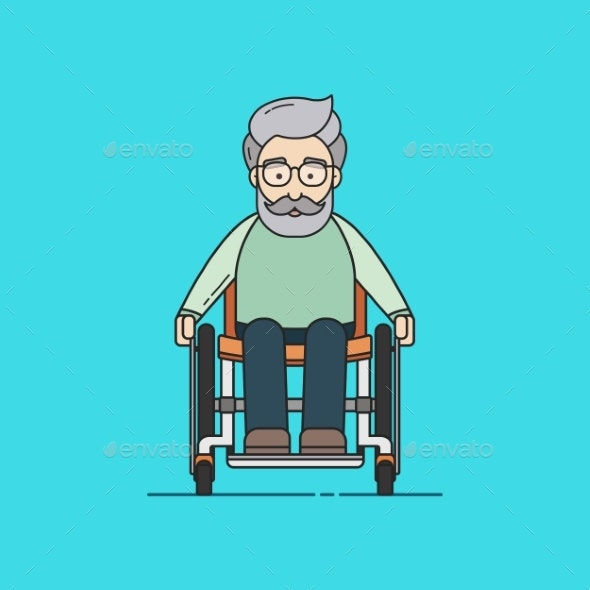 Illustration of an Old Man on a Wheelchair - People Characters