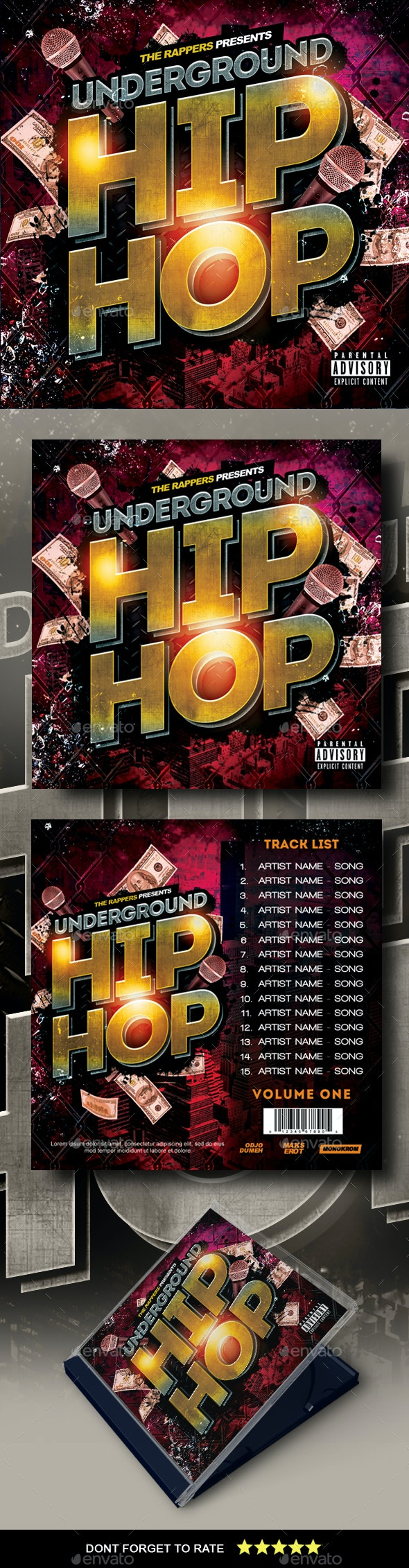 Hip Hop Mixtape Cover - CD & DVD Artwork Print Templates