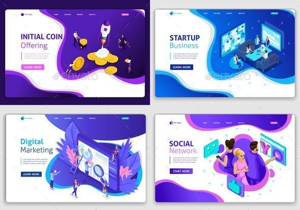 Set of Web Page Design Templates for Website - Business Conceptual