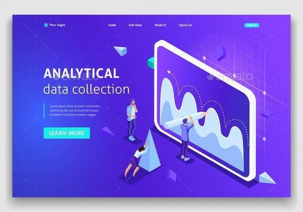 Website Template Landing Page Isometric Concept - Computers Technology