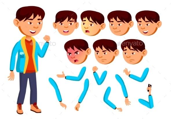 Asian Boy, Child, Kid, Teen Vector. Teenager - People Characters