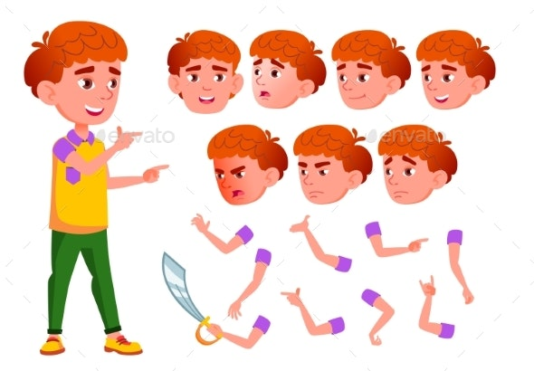 Boy, Child, Kid, Teen Vector. Smile. Cute - People Characters