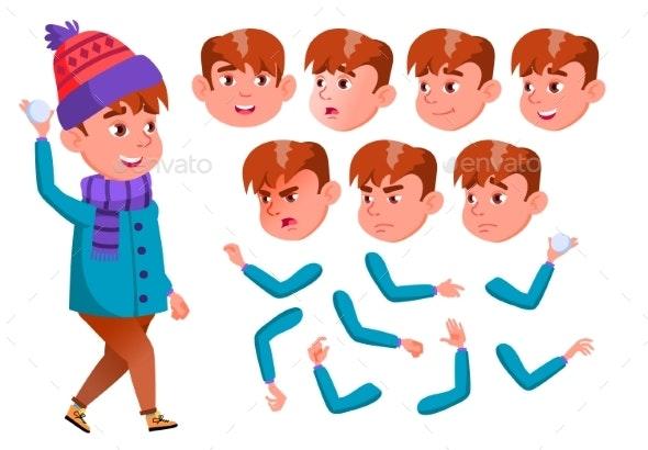 Boy, Child, Kid, Teen Vector. Active Cute. Cheer - People Characters